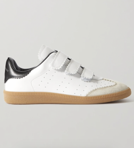 Beth Suede-Trimmed Leather Sneakers