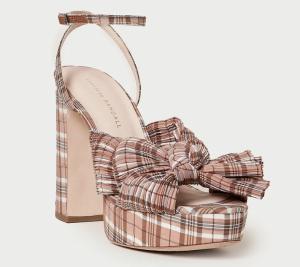 Natalia Plaid Platform Bow Heel