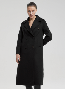 Double-Breasted A-Line Wool Coat