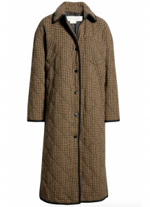 Houndstooth Quilted Long Coat