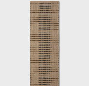 Reseda Hand Woven Striped Jute Cotton Area Rug Black