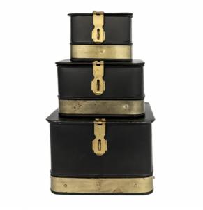 Black & Brass Galvanized Boxes (Set of 3)