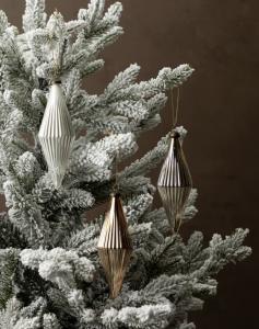 Golden Ribbed Ornaments (Set of 3)