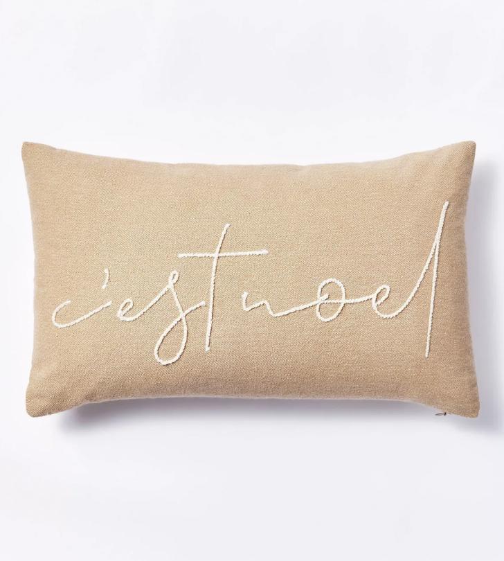 Oversized 'C'est Noel' Lumbar Throw Pillow Neutral