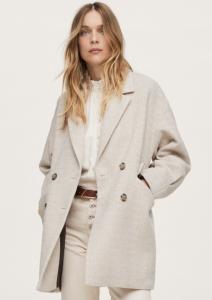Herringbone Double-Breasted Coat