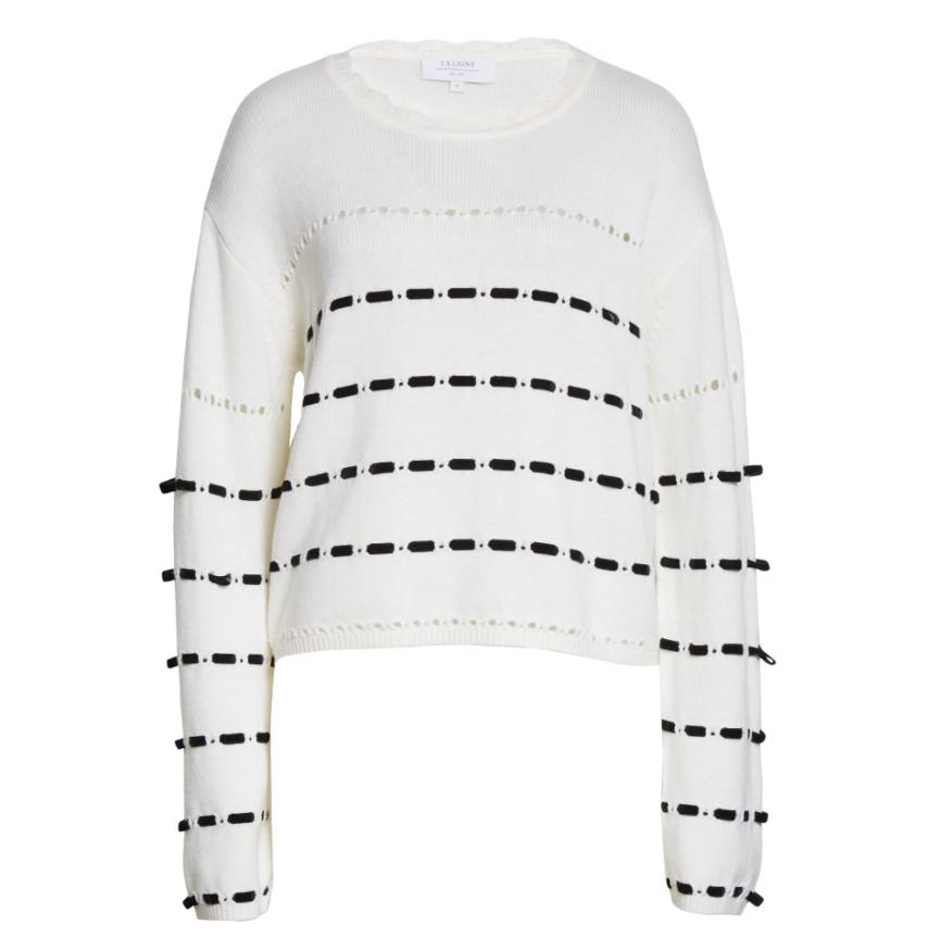 Grosgrain Stripe Merino Wool Sweater